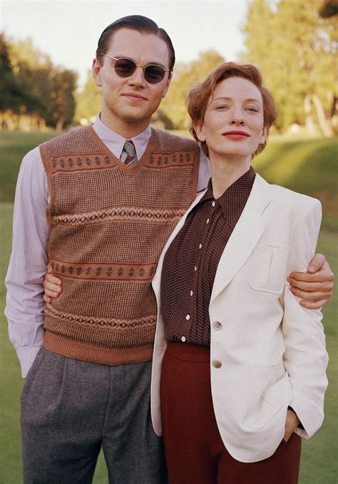 Leonardo DiCaprio and Cate Blanchett on the set of The