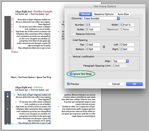 Alignment issue with bullet and text wrap with InDesign